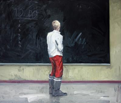 Topi Ruotsalainen: To do, 2011, Chalkboard paint, chalk & oil on canvas, 200 x 235 cm